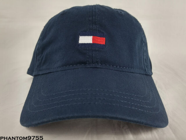 2e68d209bbf32 Tommy Hilfiger Classic Colorblock Flag Logo Strapback Dad Hat Navy Blue One  Size
