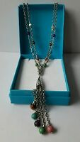 Qvc Sterling Silver Southwestern 2 Strand Multi Gem Tassel Necklace