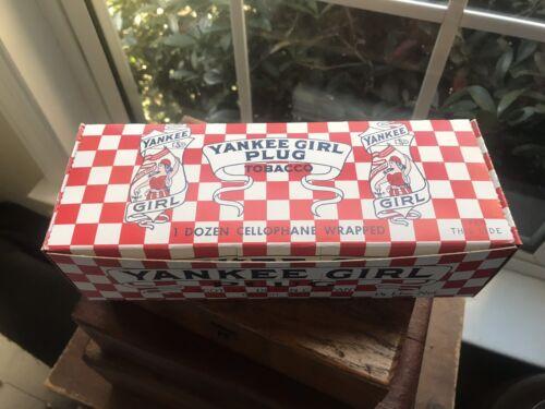 Vintage NOS Yankee Girl 12 Plug Tobacco Cardboard Display Box Advertising