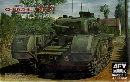 AFV Club 1//35 AF35S52 WWII British Churchill Mk.VI w//Ordnance QF 75mm MK.V Gun