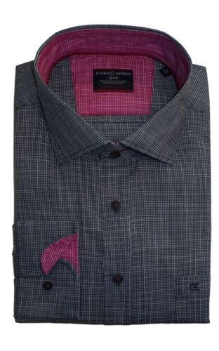 Taglia xxl-6xl CASA Moda Cotone Premium COMFORTFIT Micro Check camicia in Antracite