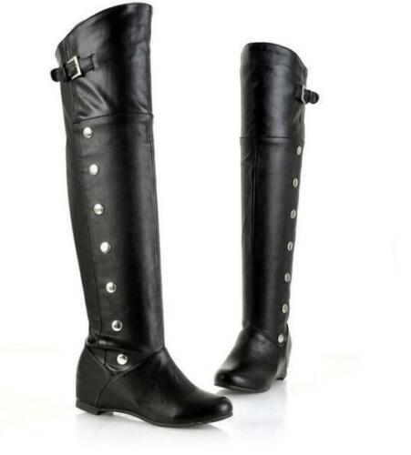 Womens Round Toes wedge Heel Faux Leather Spike Over The Knee High Boots Shoes