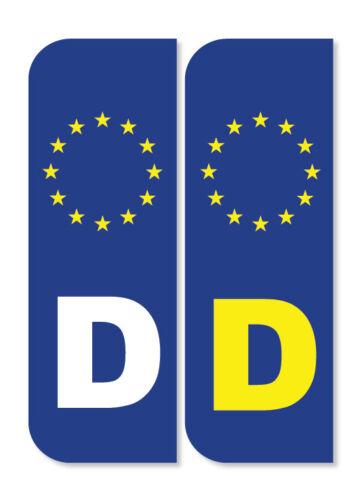 2 X Allemagne Euro Plaque Immatriculation Stickers Vinyle