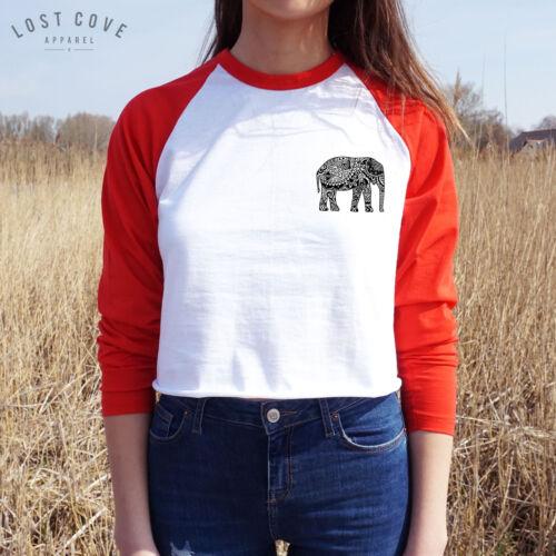 * Boho Elephant Crop Raglan Tee T-shirt Top Bohemian Long Sleeve Moon Festival *
