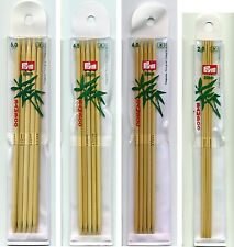 Prym Double Pointed Knitting Pins Bamboo 20cms 2mm-4.5mm 5 pack