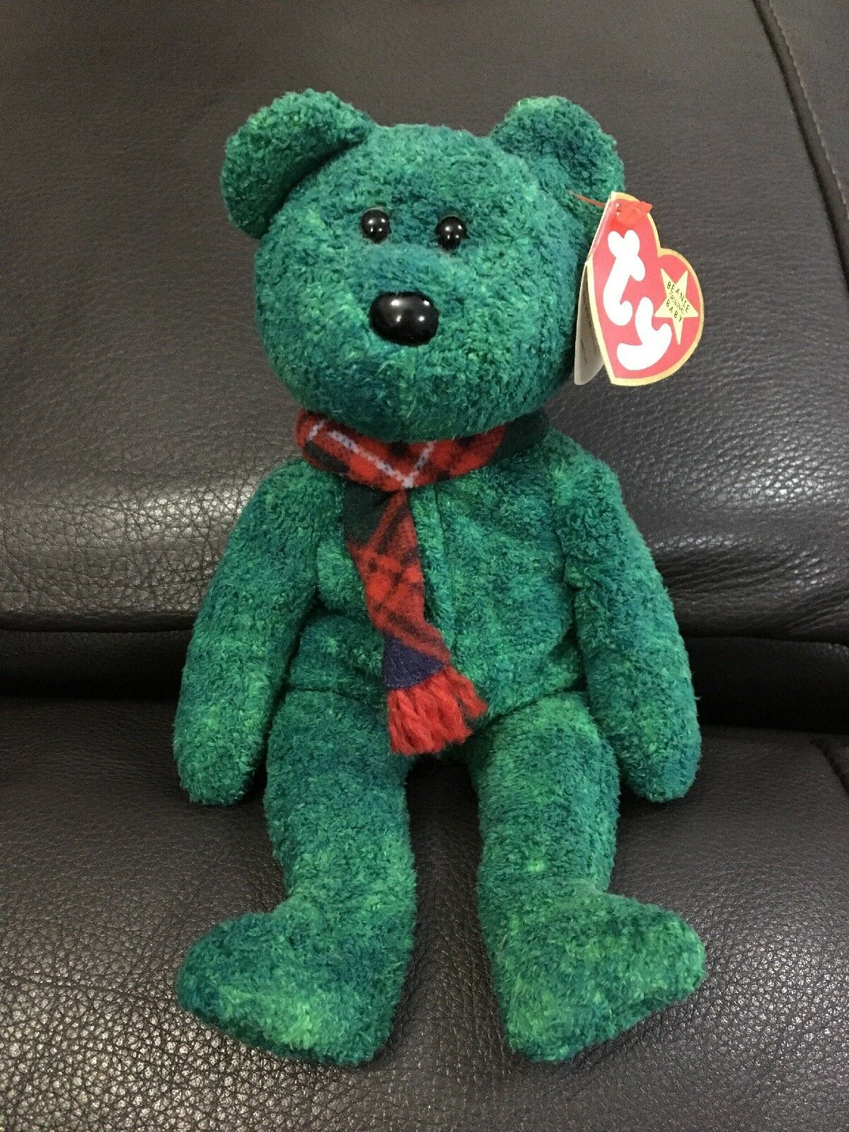 TY Beanie Baby Wallace Green Tartan Scottish Bear Immaculate Condition
