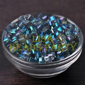 25pcs-6mm-Cube-Square-DIY-Crystal-Glass-Loose-Spacer-Beads-Green-Colorized