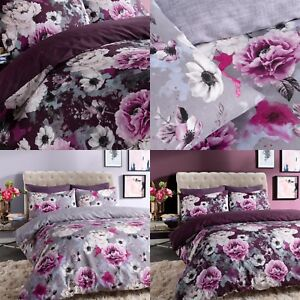 Inky-Floral-Gris-amp-Violet-Housse-Couette-Simple-Double-King-amp-Superking-Ensemble-De-Literie