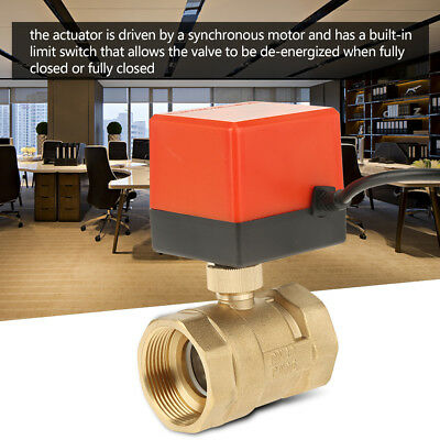 "DC12V G1-1//2/"" DN40 2 Way Brass Motorized Actuator Ball Valve for Air Conditioner"