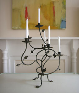 Antique-Candelabra-Hand-Forged-Wrought-Iron-6-Candle