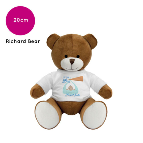 Personalised Name Richard Teddy Bear Christening New Baby Boy Girl Gift Gifts