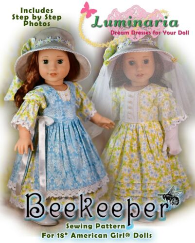 American Girl Blaire Beekeeper Digital PDF Dress Pattern With Hat. Fits 18 Doll