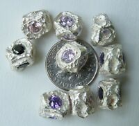 925 Sterling Silver Nugget Findings With Added Oval Gemstones 10x13mm 4 Gems