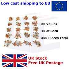 300pcs 30 Values 50V Ceramic Capacitor Assorted Kit Assortment Set 2pf-100nf UK