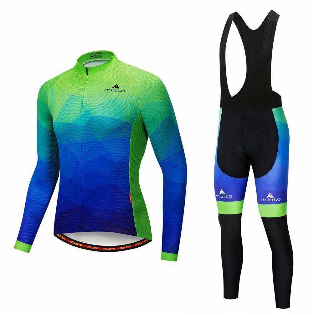 Miloto Cycling Clothing Set Cycle Long Pants   Bib Tight Long Sleeve Jersey Kit