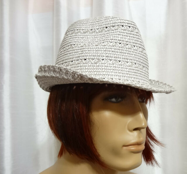 50eb7cb0e351 SONOMA Goods for Life WSN61HT06 Grey Open Work Straw Fedora Trilby one size  NEW