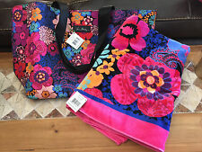 NWT Vera Bradley Floral Fiesta Beach Towel And Large Family Tote New Pattern