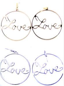 4-cm-cerchio-con-parola-amore-Dangle-Earrings-Scelte-multiple