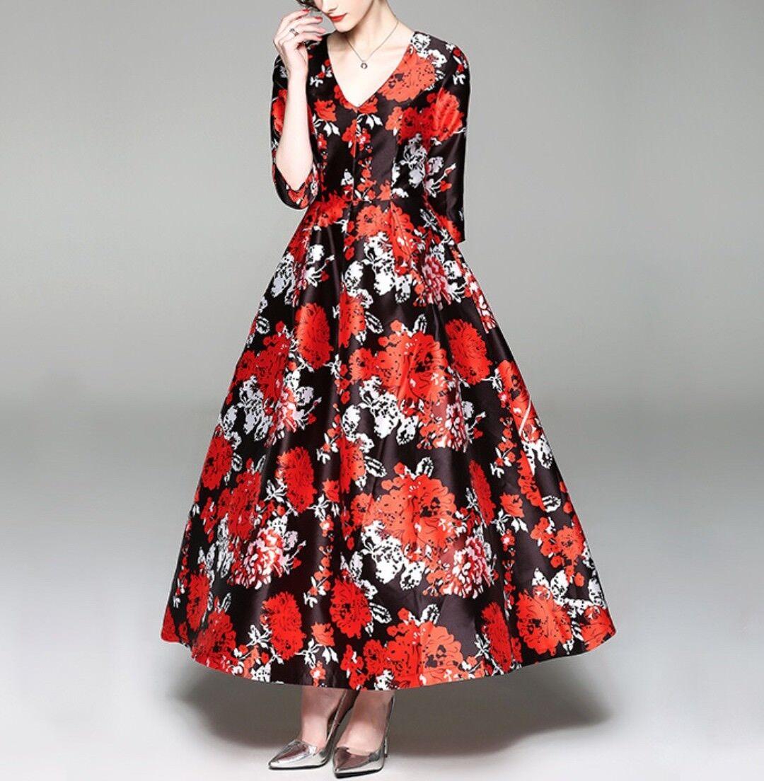 dea12b5b89f0 ... Vestito Donna Abito Lungo Stampa Floreale Rosso e Nero Nero Nero Donna  Maxi Dress 110359 P ...