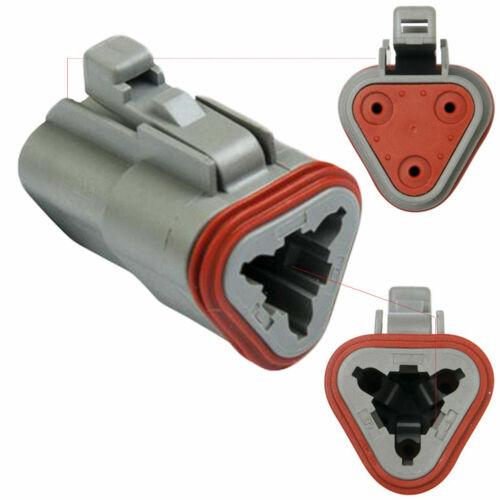 Pins /& Seals Crimp Terminals 14-16 AWG Deutsch 3-Pin  Flange Connector kit