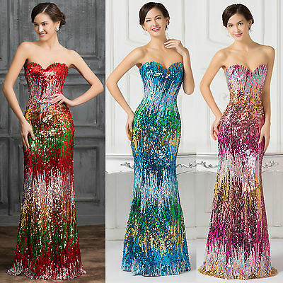 Newly~ Sexy COLORFUL Sequins Evening Wedding Party Gowns Bridesmaid Prom Dresses