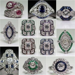 925 Silver White Topaz Evil Eye Women Wedding Ring Fashion Jewelry Size 6-10