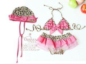 New-baby-toddler-girls-Swimwear-Leopard-bikini-kids-Swimsuit-skirt-hat-1291