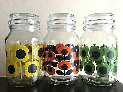 Rare Retro Orla Kiely 3 Limited Edition Glass Douwe Egberts Coffee Storage Jars Ebay
