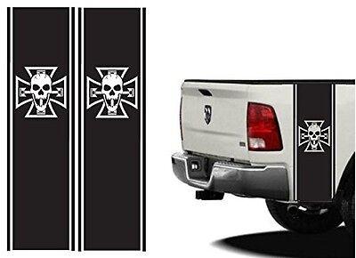 Rear Bed Stripes bones kit Iron Cross Skull for Ford raptor Dodge ram Chevrolet