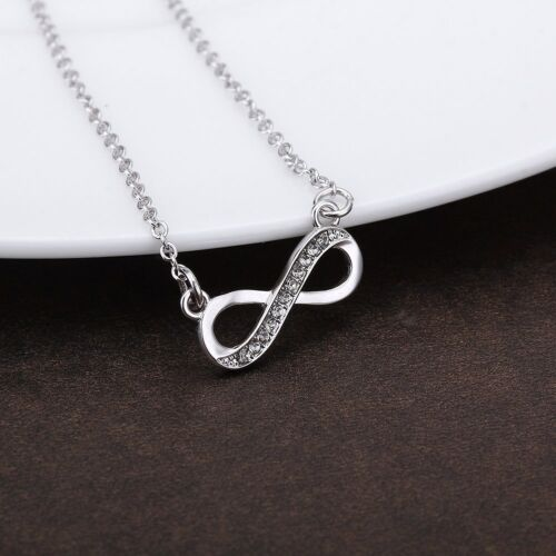 Hays Jewelers Crystal Infinity Necklace in White Gold Plated
