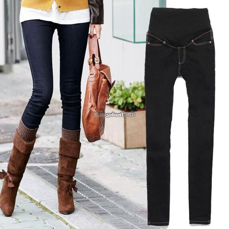 Pregnant Women Skinny Pants Casual Trousers Maternity Jeans Over ...