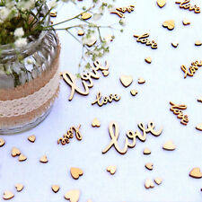 Wedding Table Decorations   Rustic Small Wooden Hearts & Worded Love Confetti