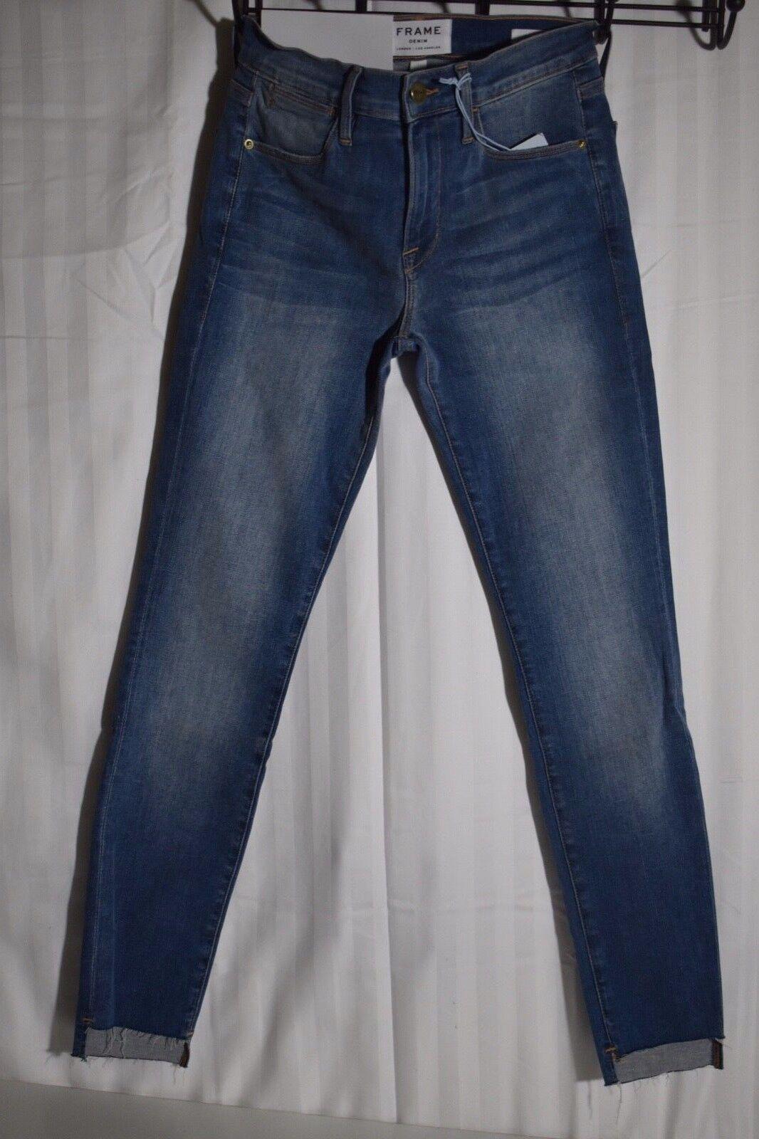 245 Neuf Avec Étiquettes re Filiforme Größe Haute Blau Clair Jeans Stretch Sea Cliff Raw Hem Größe 24