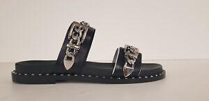 the sale of shoes lace up in arrives Dettagli su ASH - MEIKA CIABATTA PELLE NERO 2 FASCE CON CATENA SCONTO  40%-ultime paia