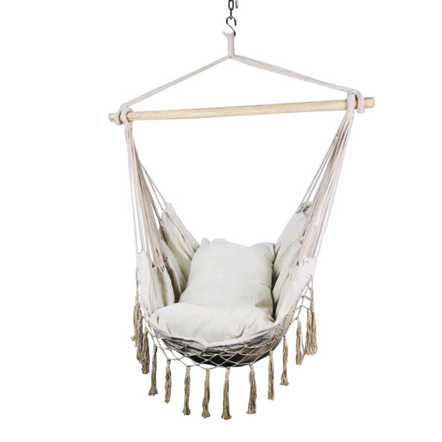 Double Hammock Hanging Rope Chair Lounger Porch Swing Seat Heavy Duty Outdoor