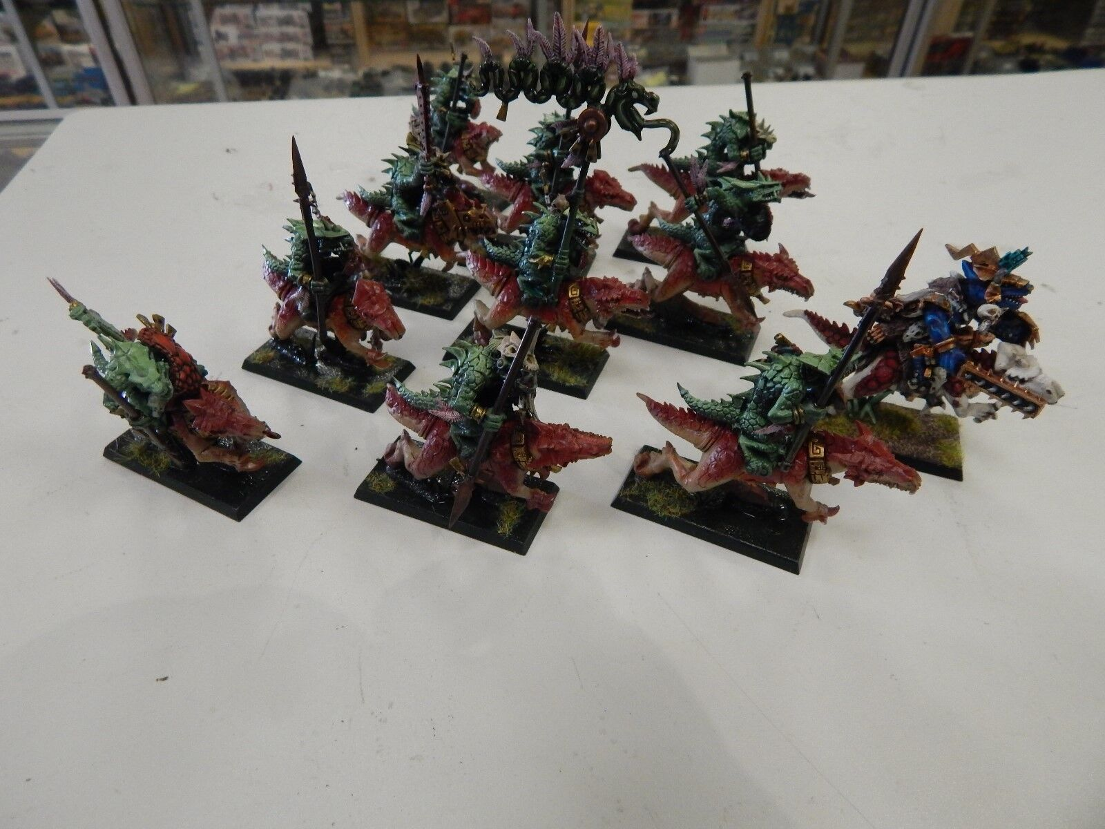 Games Workshop Warhammer Age of Sigma painted Lizardmen   Seraphon Saurus riders