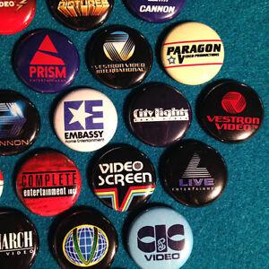 "30 Cult VHS 1"" Buttons - videocassette VCR slasher horror movies memorabilia"