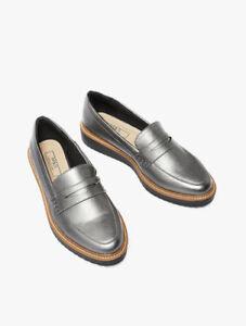 Flatform Loafers Shoes Silver UK