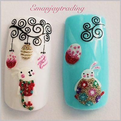 Nail Art 3D  Decals/ Easter Eggs, Easter Bunnies & Swirls #178