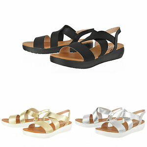 7cbdaff4254 Details about Womens peep toe gold black silver summer beach platform flat  sandals shoes size