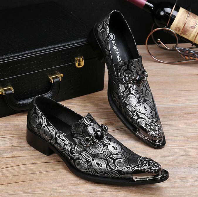 Uomo Metal Head Pointy Toe Wing Tip Dress 3W Shoes Business Print Leather Shoes