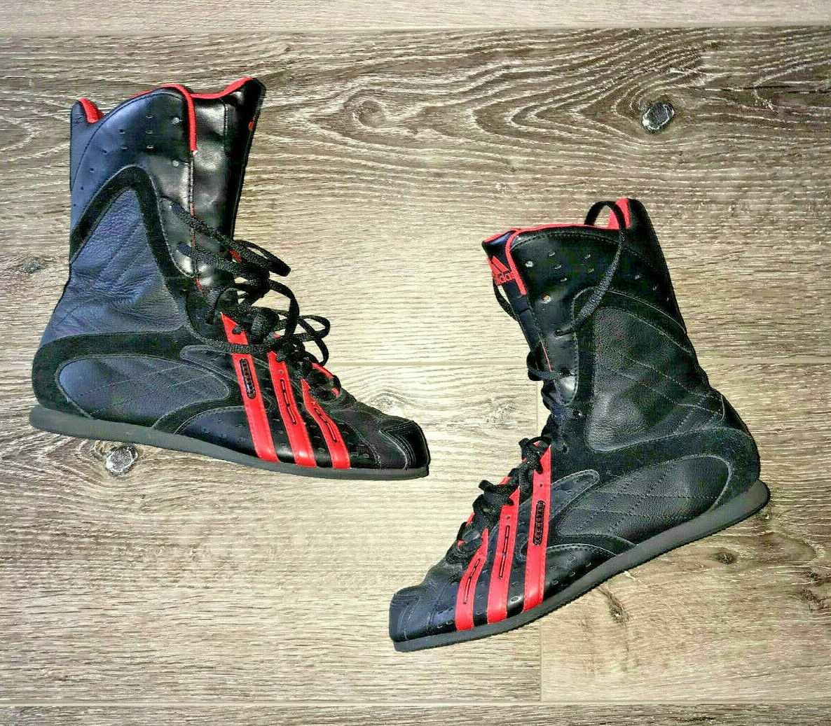 RARE adidas BLACK RED LEATHER  TECH STAR  BOXING BOOTS SHOES WOMENS 7 EDITORIAL
