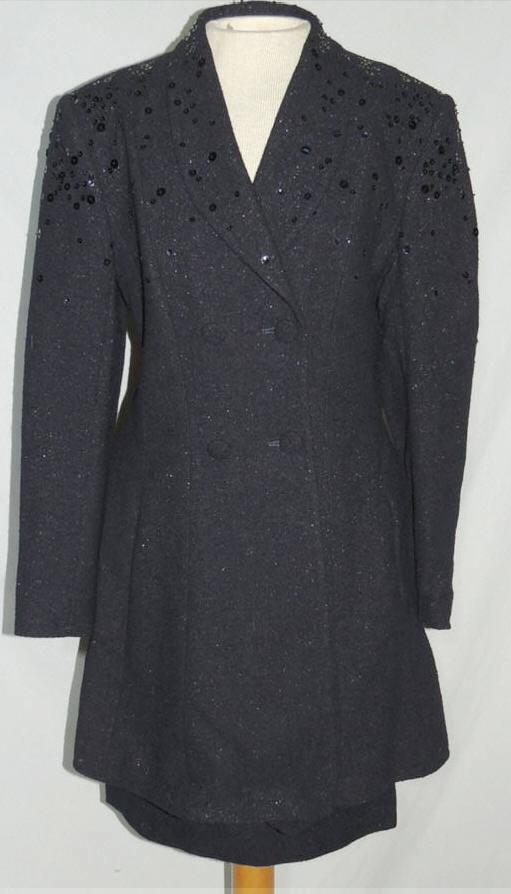 Louis Feraud' Sparkling Navy Wool Suit w Sequins US 6