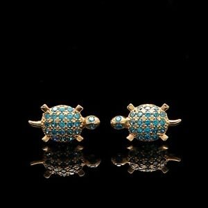 Image Is Loading 14k Solid Yellow Gold Turtle Stud Earrings Simulated