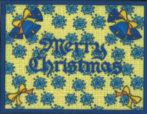 Dollhouse Miniature Holiday Merry Christmas Door Mat Bells and Snowflakes 304