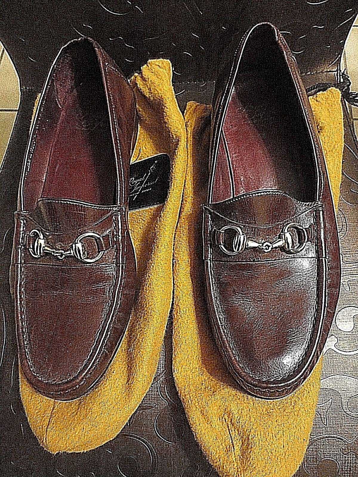 Vintage Florsheim Royal Imperial BROWN Slip-on Gold Band Loafers Uomo 10 3E