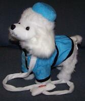 Blue Walking Poodle Dog With Leash Battery Operated Toy Dancing Dog Novelty
