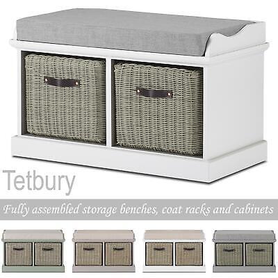 Tetbury Hallway Bench With 2 Storage, Tetbury Furniture White Storage Bench With Brown Baskets And Cushion