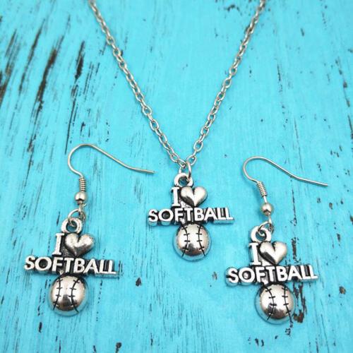 I LOVE Softball Collier Boucle d/'oreille Pendentifs Bijoux en argent ensembles Creative Gifts
