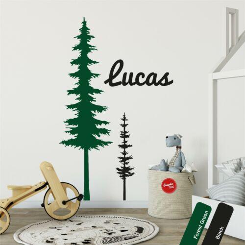 Pine Tree Custom Name Wall Sticker Kids Nursery Scandinavian Boys Decal